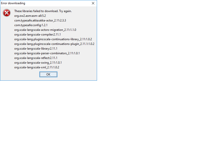 minecraft forge unable to download libraries