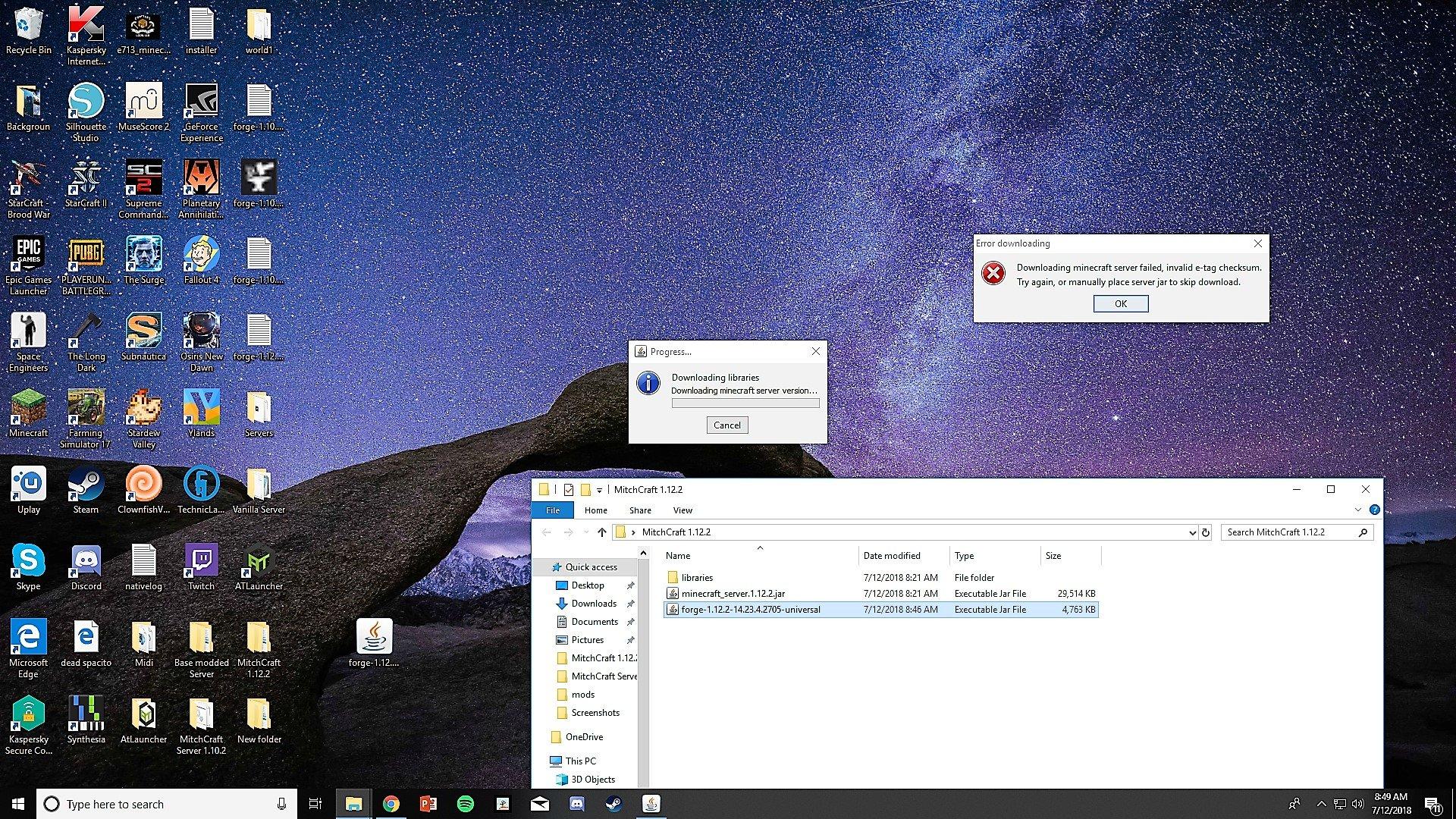 minecraft forger server wont download